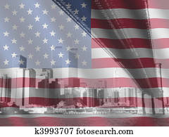 New York and rippled American flag