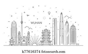 Outline Wuhan China City Skyline. Vector Illustration