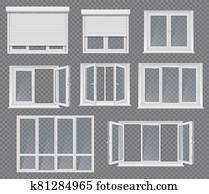 fenêtres et cadres en plastique et ensemble de vecteur jaloux