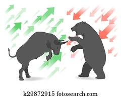 Stock market concept bull and bear
