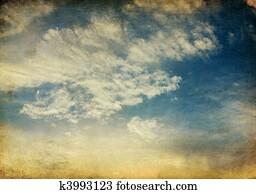 Vintage tranquil sunset sky retro background.