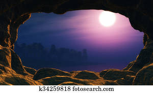 3D view from a cave looking out to a sunset sea with palm tree island