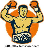 Champion boxer with championship belt raising gloves