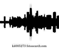 Chicago skyline reflected