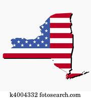 New York map flag