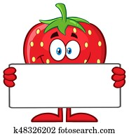 Smiling Strawberry Fruit Cartoon Mascot Character Holding A Blank Sign