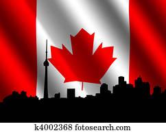 Toronto skyline with Canadian Flag