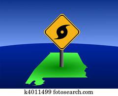Alabama map with hurricane sign