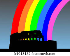 Colosseum with rainbow