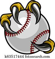 Eagle Bird Monster Claw Holding Baseball Ball