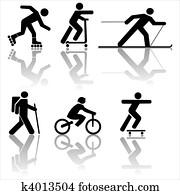 Figure exercising hiking skiing