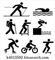 figures exercising silhouettes