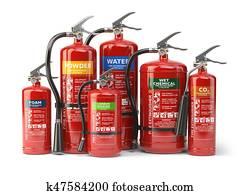 Fire extinguishers isolated on white background