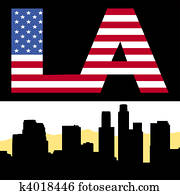 Los Angeles skyline with flag text