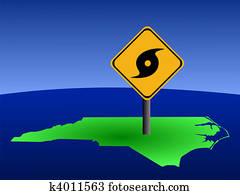 North Carolina map with hurricane sign