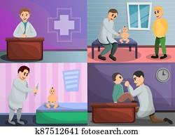 Pediatrician banner set, cartoon style