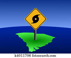 South Carolina map with hurricane sign