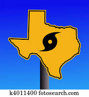 Texas hurricane warning sign