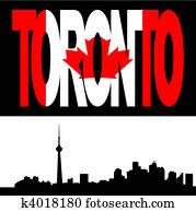 Toronto skyline with flag text