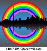 Toronto with rainbow