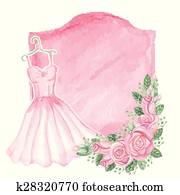 Watercolor pink dress, roses decor, badge. Vintage card