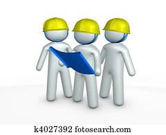 3d image, contractors, blueprint, construction site