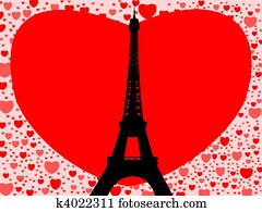 Eiffel Tower with hearts
