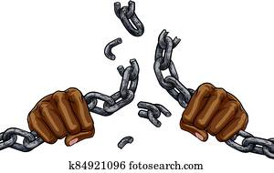 Hands Breaking Chain Links Freedom Design