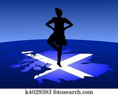 highland dancer on map
