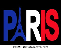 Paris text with Eiffel tower