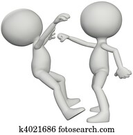 People 3D fight martial arts karate punch