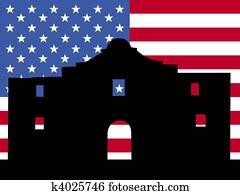 The Alamo with American flag