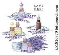 Watercolor lavender oil set