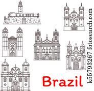 Brazil landmarks vector architecture line icons