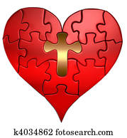 Heart and Cross Puzzle Orthographic
