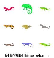 Iguana and lizard icons set, cartoon style