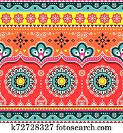 Pakistani or Indian truck art design, Jingle trucks seamless vector pattern, colorful floral repetitive decoration