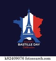set of bastille day concept