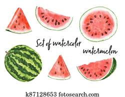 Set of watercolor watermelon isolated on white background.