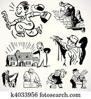 vektor, altmodisch, heimwerker, und, real estate