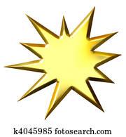 3D Golden Starburst