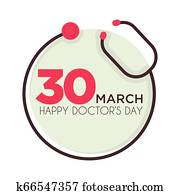 Doctors day holiday isolated icon stethoscope medical tool