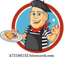 France Crepes Chef Cartoon Mascot