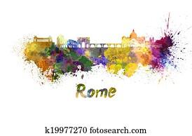 Rome skyline in watercolor