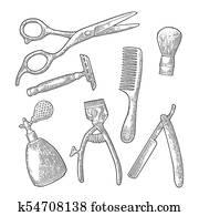 Set tool for Barber Shop. Vector black vintage engraving