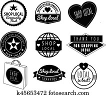 shop local, community shops and stores logos