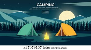 Summer camp. Night Camping. Campfire. Pine forest and rocky mountains. Starry night and moonlight. Nature landscape.