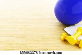 3d Fitness ball and weights.