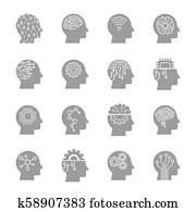 AI Artificial Intelligence icon set