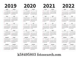 Calendario 2019 Con Numero Di Settimana.Semplice Calendario Per 2019 2020 2021 2022 2023 E